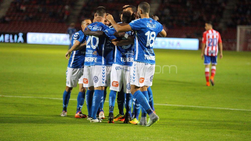 Celebración gol de Amath, CD Tenerife, en Girona