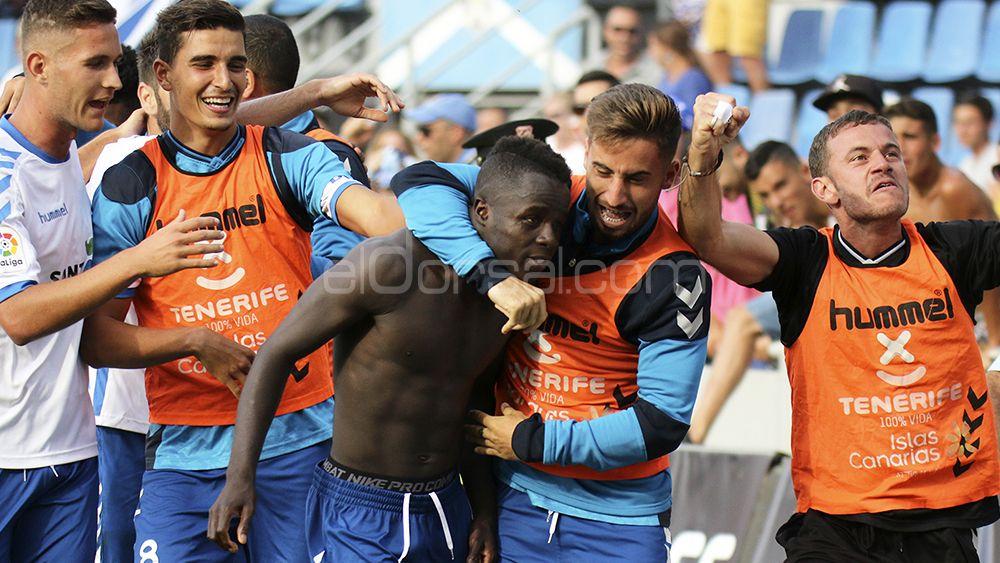 Los blanquiazules en la celebración del gol de Amath
