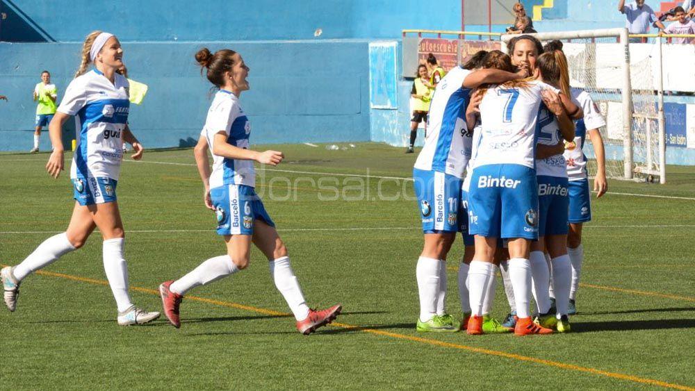 Alegría en el vestuario de la UDG Tenerife tras el triunfo ante el Sporting de Huelva