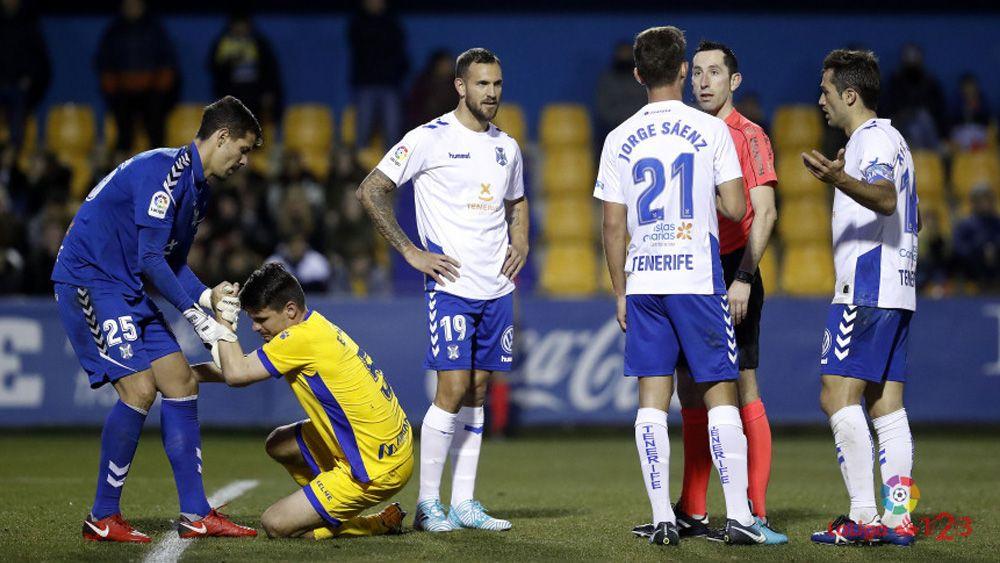 Los jugadores del CD Tenerife dan por bueno el punto conseguido en Alcorcón