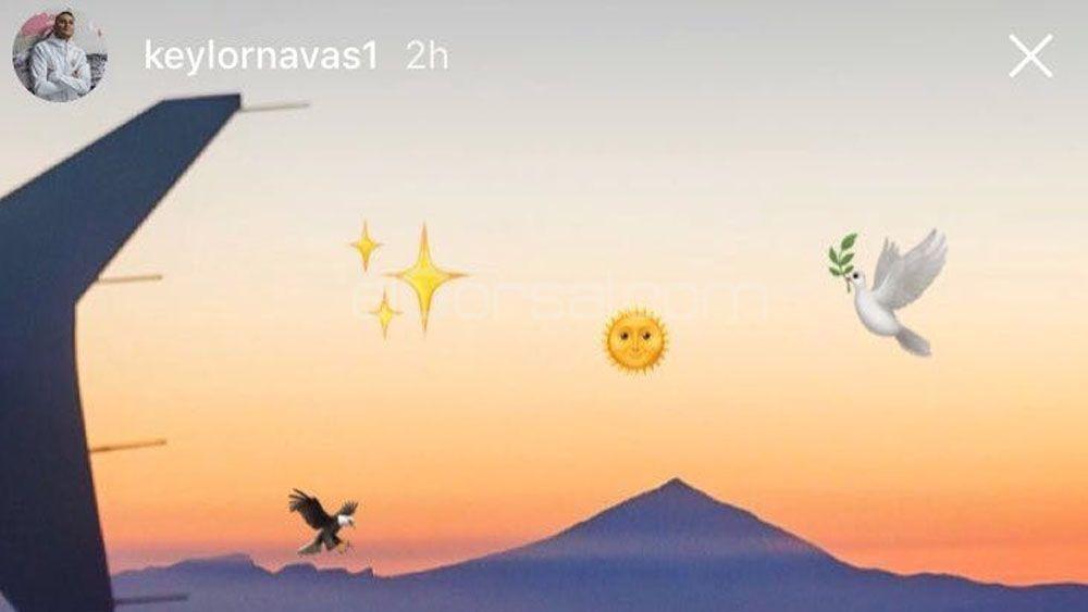 El portero del Real Madrid Keylor Navas hace una gran imagen del Teide