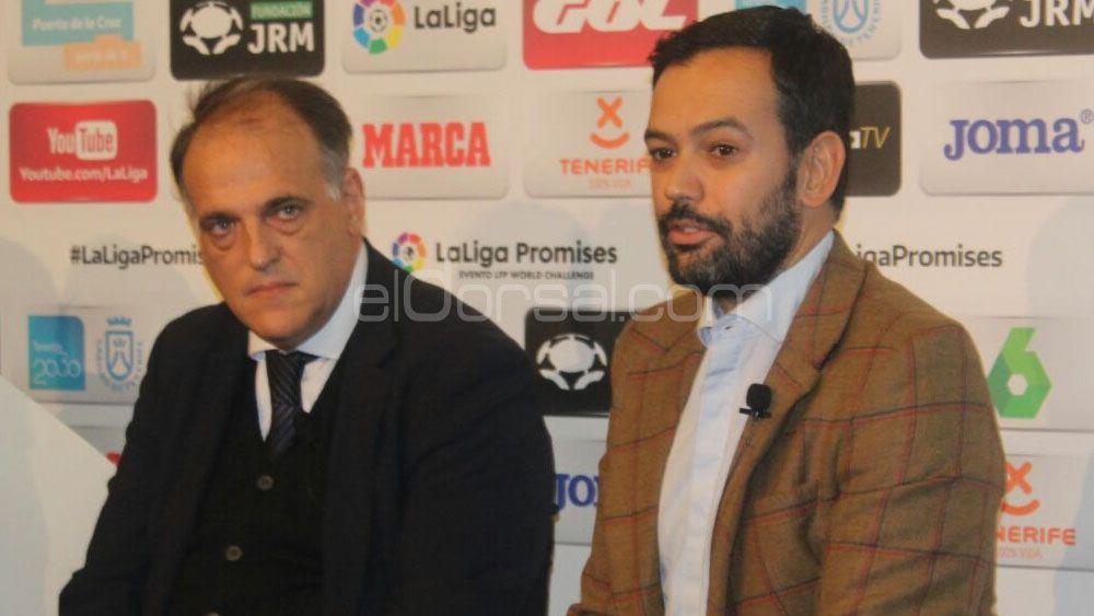 """Javier Tebas: """"Vamos a ascender Huesca y Zaragoza"""""""
