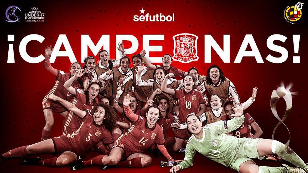 La jugadora de la UDG Tenerife Paola Hernández, campeona de Europa sub-17