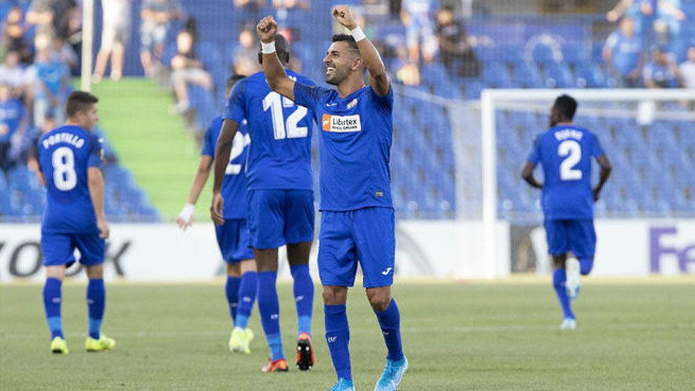 Ángel celebra el gol de la victoria del Getafe | Pablo Moreno (MARCA)