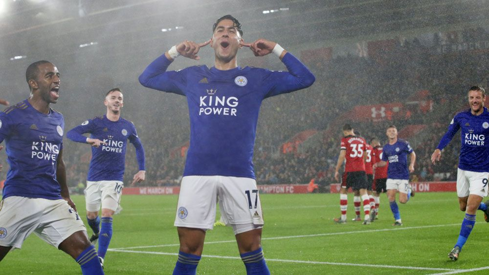 Ayoze Perez Leicester celebración hattrick