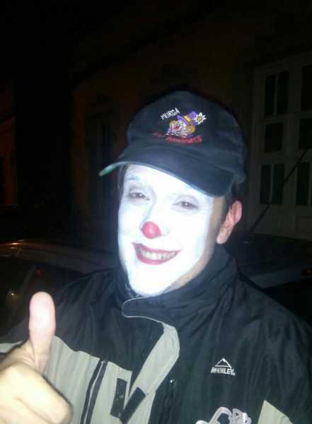 Javier Nóbrega, con el maquillaje de Bambones