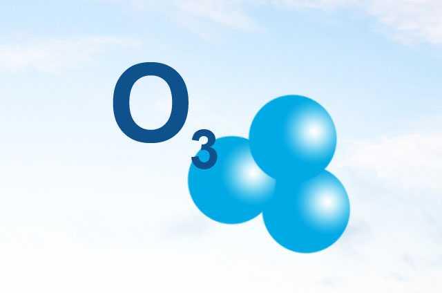 Representación del Ozono. Molécula